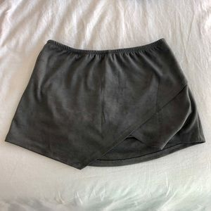 Olivaceous Gray Suede material Mini Skirt